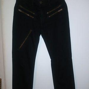 Black Zippered Straight leg Jeans